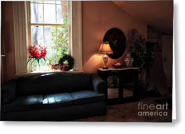 Red School House Greeting Cards - Light by the Window Greeting Card by John Rizzuto