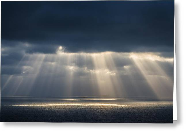 Sun Breaking Through Clouds Photographs Greeting Cards - Light Dancing on Water Greeting Card by Alexander Kunz