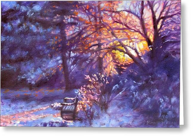 Winter Night Greeting Cards - Light Dusting Greeting Card by Bonnie Mason