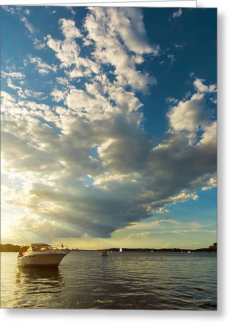 Boats On Water Greeting Cards - Light Fades on Lake Minnetonka Greeting Card by Bill Tiepelman