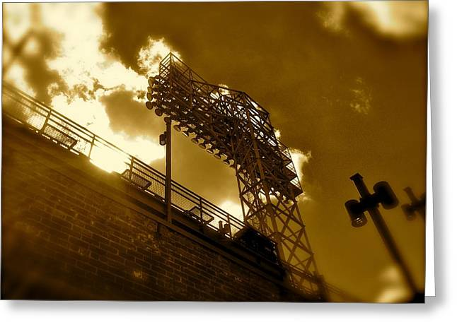 Baseball Art Photographs Greeting Cards - Light  Fenway Park Greeting Card by Iconic Images Art Gallery David Pucciarelli