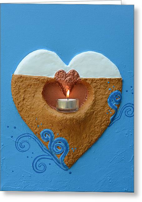 Heart Reliefs Greeting Cards - Light Fire In The Heart Of Others Greeting Card by Catt Kyriacou