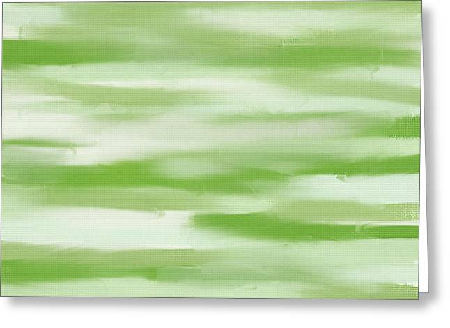 Olive Digital Art Greeting Cards - Light Green And White Greeting Card by Lourry Legarde