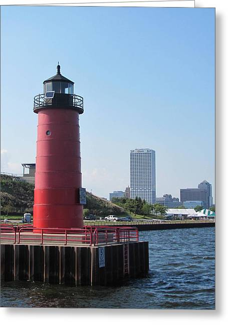 Summerfest Greeting Cards - Light House and Milwaukee Skyline 2 Greeting Card by Anita Burgermeister