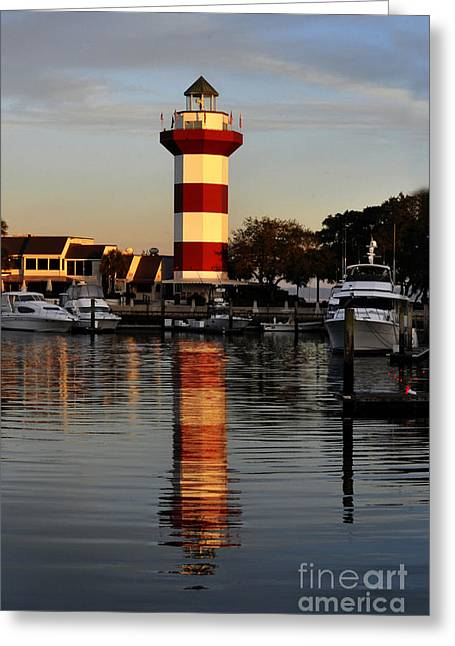 Light House At Harbour Town Greeting Card by Dan Friend