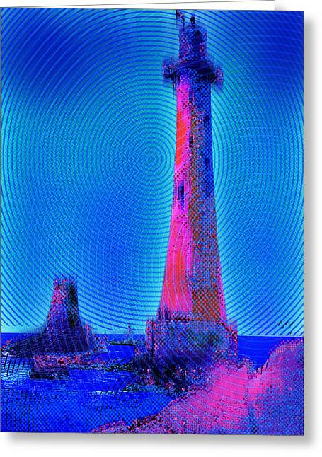 Interior Scene Mixed Media Greeting Cards - Light House At Sunrise 2 Greeting Card by Tony Rubino