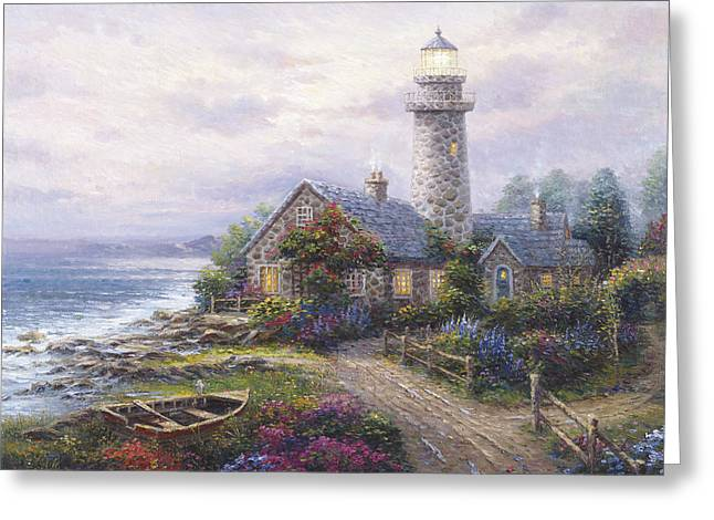 Pallet Knife Greeting Cards - Light House Greeting Card by Ghambaro