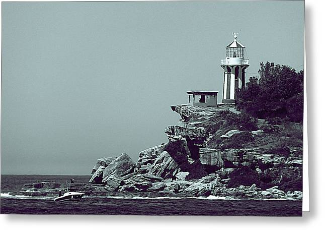 Beach House Pyrography Greeting Cards - Light house Greeting Card by Girish J