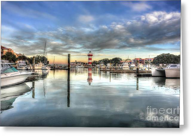 light house harbour town Hilton Head Greeting Card by Dan Friend