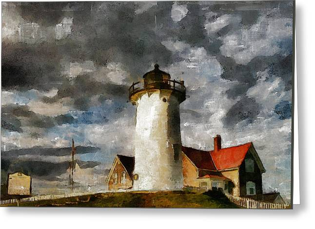 Traditional Media Greeting Cards - Light House In A Storm Greeting Card by Georgiana Romanovna