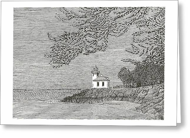 Lime Drawings Greeting Cards - Light house on San Juan Island Lime Point Lighthouse Greeting Card by Jack Pumphrey