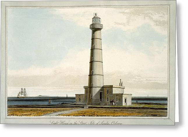 Points Drawings Greeting Cards - Light House On The Start, Isle Greeting Card by William Daniell
