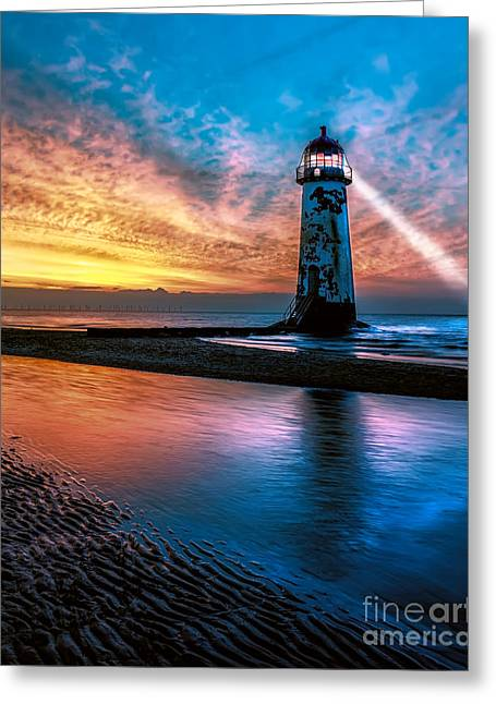 Light Beams Greeting Cards - Light House Sunset Greeting Card by Adrian Evans