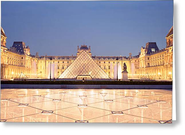 Pyramids Greeting Cards - Light Illuminated In The Museum, Louvre Greeting Card by Panoramic Images