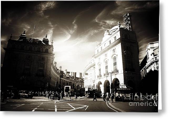 White Decor Posters Greeting Cards - Light in Piccadilly Greeting Card by John Rizzuto