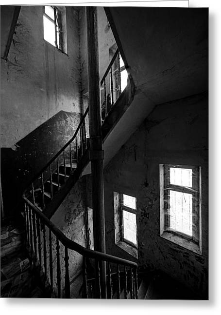Haunted Castle Greeting Cards - Light In The Dark Abandoned Staircase Greeting Card by Dirk Ercken