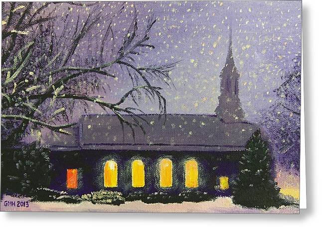 Snowy Night Paintings Greeting Cards - Light in the Darkness Greeting Card by Glenn Harden