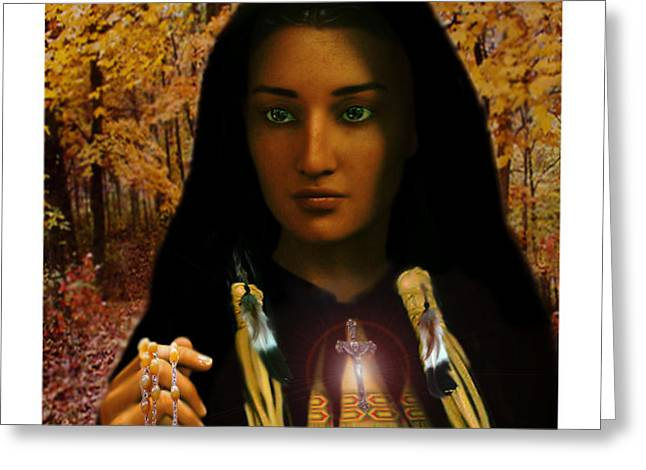 Rosary Digital Art Greeting Cards - Saint Kateri Tekakwitha Light in the Darkness Greeting Card by Suzanne Silvir