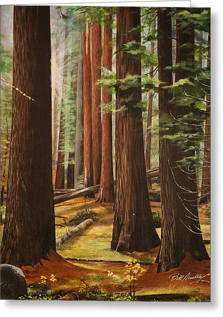 Sun Rays Paintings Greeting Cards - Light in the Forest Greeting Card by Bill Dunkley