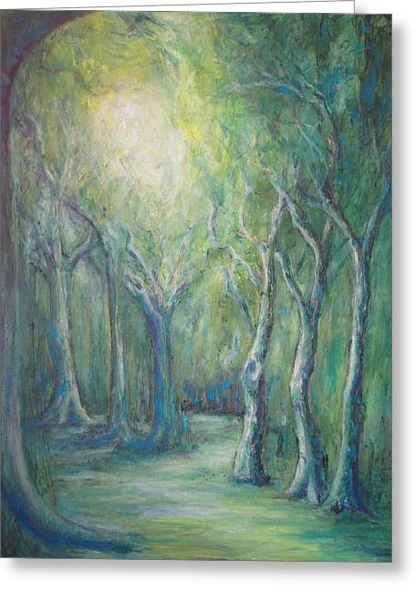 Forest Floor Paintings Greeting Cards - Light in the Forest Greeting Card by Carol Cotter