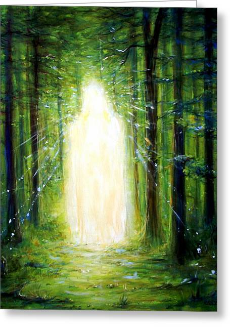 Ajna Greeting Cards - Light in the Garden Greeting Card by Heather Calderon