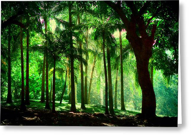 Light In The Jungles. Viridian Greens. Mauritius Greeting Card by Jenny Rainbow