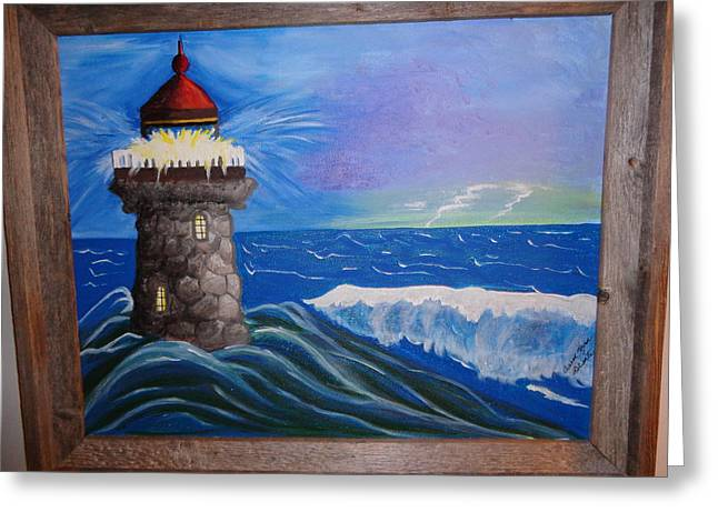 My Ocean Greeting Cards - Light in the Storm Greeting Card by Carol  Lynn Bronte