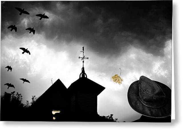 Macabre Greeting Cards - Light In The Window Greeting Card by Bob Orsillo