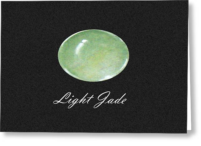 Carat Paintings Greeting Cards - Light Jade black Greeting Card by Marie Esther NC