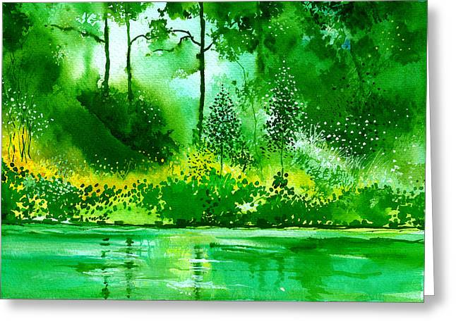 Abstract Rain Drawings Greeting Cards - Light N Greens R Greeting Card by Anil Nene
