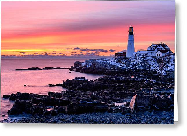 Seascape. Winter Greeting Cards - Light of Dawn Greeting Card by Michael Blanchette