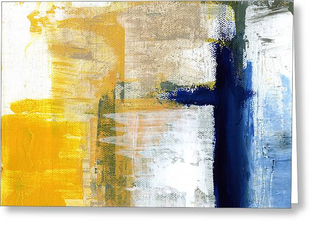 Yellow And Gray Abstract Greeting Cards - Light Of Day 3 Greeting Card by Linda Woods