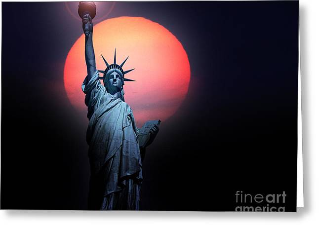 Photographs With Red. Greeting Cards - Light of Liberty Greeting Card by Edmund Nagele