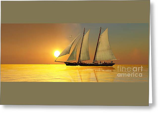Schooner Digital Greeting Cards - Light of Life Greeting Card by Corey Ford