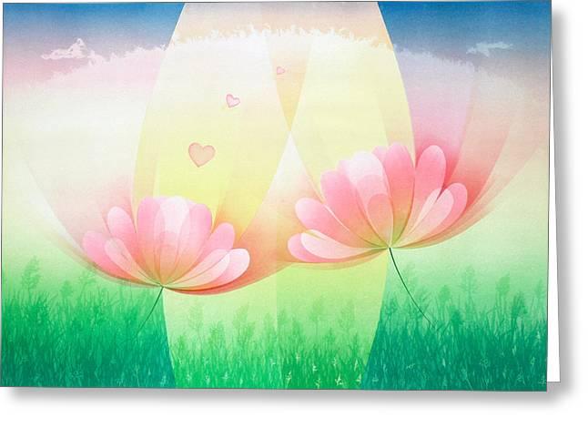Block Printing Greeting Cards - Light of Love Greeting Card by Sutthipong Changaim