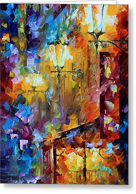 Light Of Night Greeting Card by Leonid Afremov