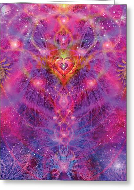 Purple Abstract Greeting Cards - Light of Passion Reborn Greeting Card by Alixandra Mullins
