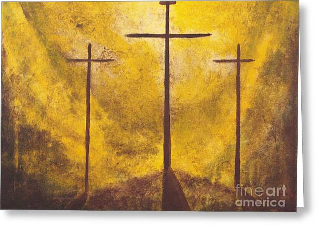 Jesus Crucifixion Framed Prints Greeting Cards - Light of Salvation Greeting Card by Wayne Cantrell