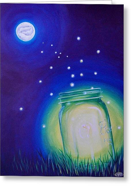 Recently Sold -  - Water Jars Greeting Cards - Light of the Koi Moon Greeting Card by Deda Happel