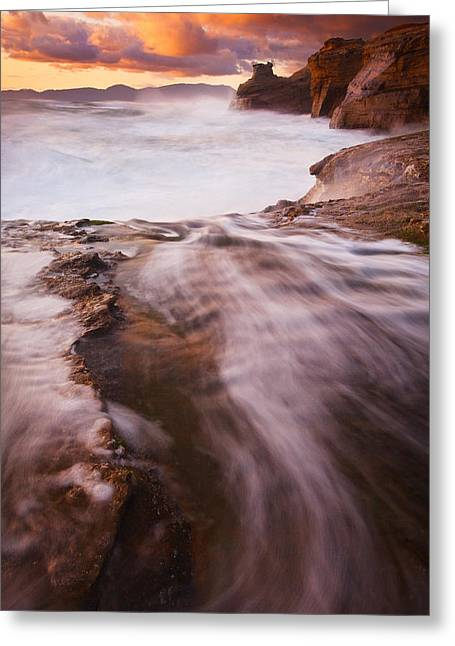 Waves Splash Greeting Cards - Light of the Pacific  Greeting Card by Darren  White