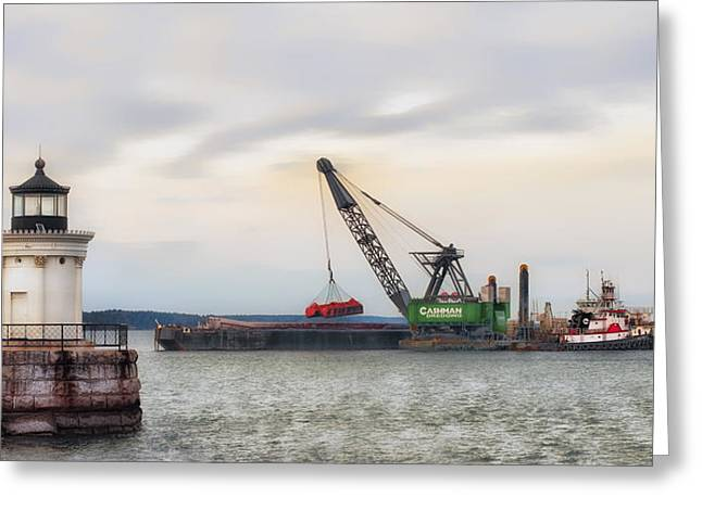 Coastal Maine Greeting Cards - Light On Dredging Greeting Card by Richard Bean