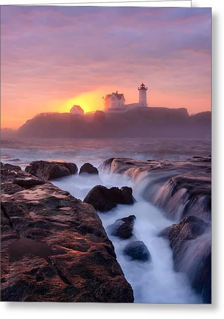 Cape Neddick Greeting Cards - Light on Fire Greeting Card by Michael Blanchette