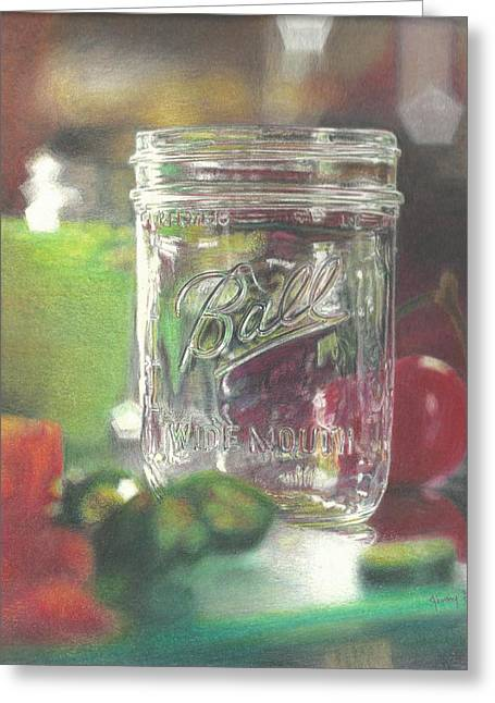 Mason Jars Drawings Greeting Cards - Light On Jar Greeting Card by Jim Graves