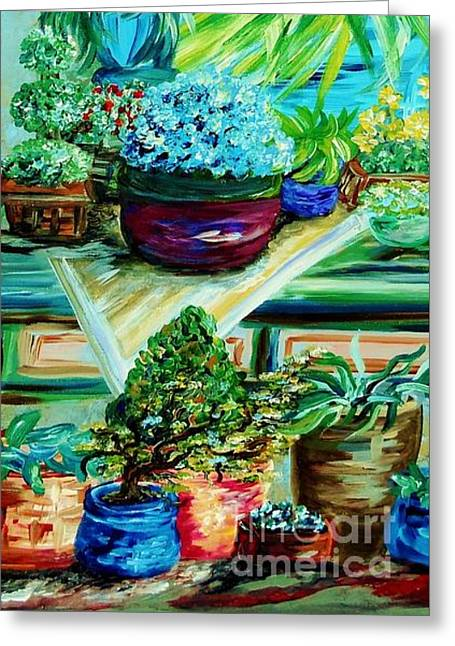 Potting Table Greeting Cards - Light on my Table Greeting Card by Eloise Schneider