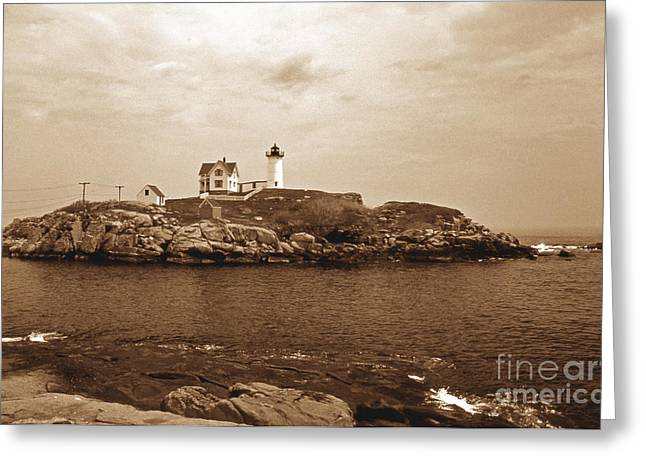 Maine Lighthouses Greeting Cards - Light On The Nubble Greeting Card by Skip Willits