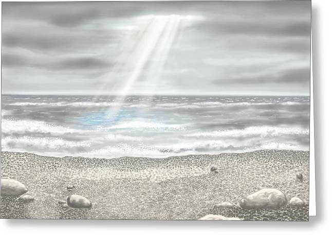 Gray Sky Greeting Cards - Light on the sea Greeting Card by Veronica Minozzi