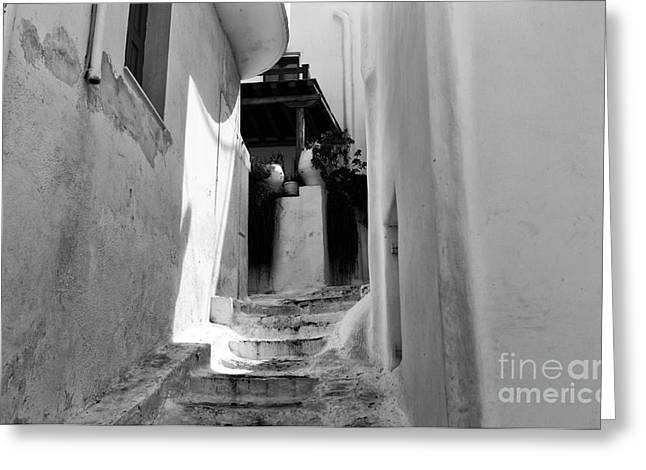 Stone Steps Greeting Cards - Light on the Stairs mono Greeting Card by John Rizzuto