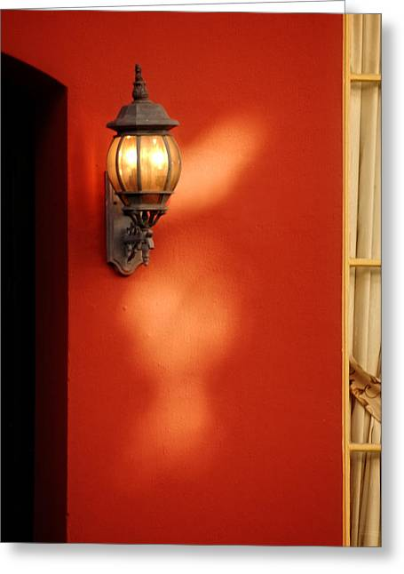 French Quarter Home Greeting Cards - Light on Wall Greeting Card by Greg and Chrystal Mimbs