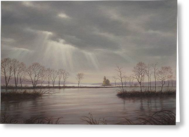 Sun Rays Paintings Greeting Cards - Light Over The Hudson Greeting Card by Barry DeBaun