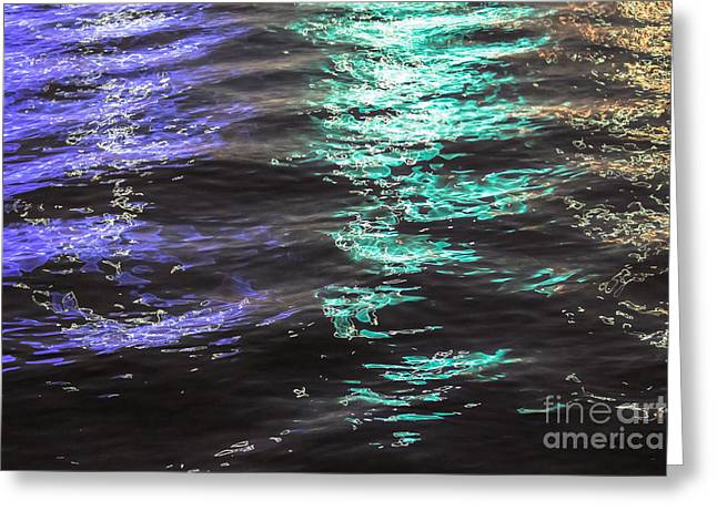 Beach At Night Greeting Cards - Light Painting Greeting Card by Laura L Leatherwood